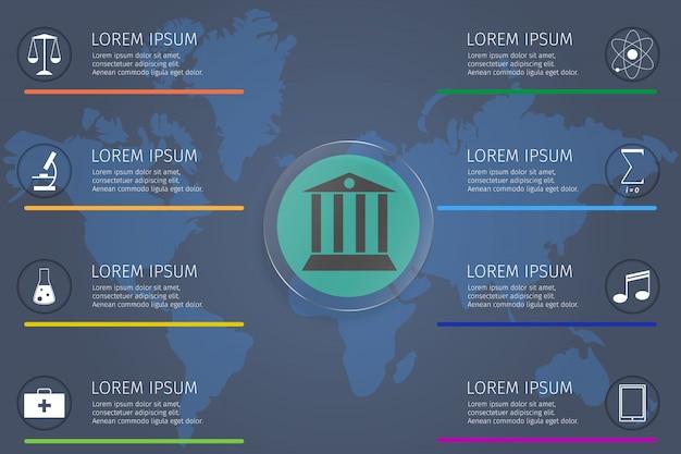 Infographic-schablone für bildungskonzept-studentenvektor Premium Vektoren