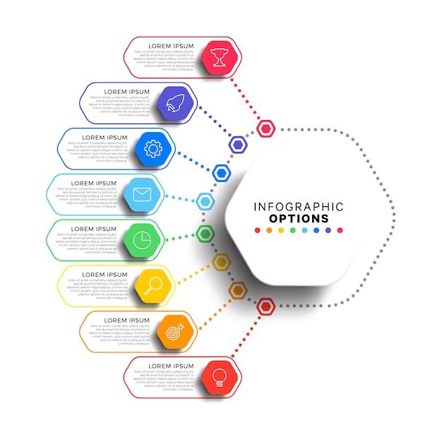 Infographic schablone mit 8 schritten mit realistischen sechseckigen elementen auf weiß Premium Vektoren