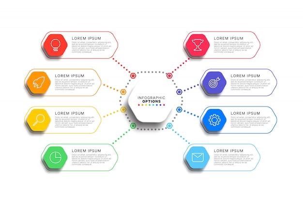Infographic schablone mit 8 schritten mit realistischen sechseckigen elementen auf weißem hintergrund Premium Vektoren