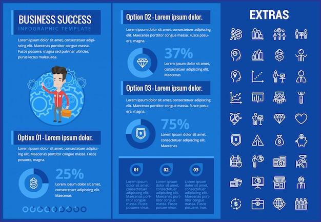 Infographic schablone und elemente des geschäftserfolgs Premium Vektoren