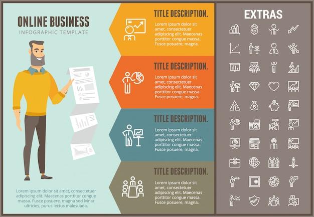 Infographic schablone und elemente des online-geschäfts Premium Vektoren
