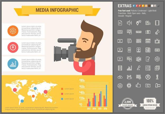 Infographic schablone und ikonen des flachen designs der medien eingestellt Premium Vektoren