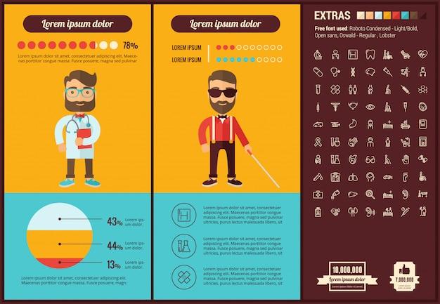 Infographic schablone und ikonen des flachen designs der medizin eingestellt Premium Vektoren