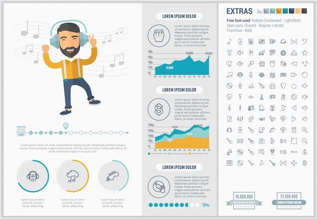 Infographic schablone und ikonen des flachen designs der musik eingestellt Premium Vektoren
