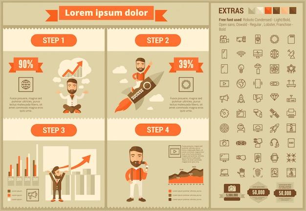 Infographic schablone und ikonen des flachen designs der technologie eingestellt Premium Vektoren