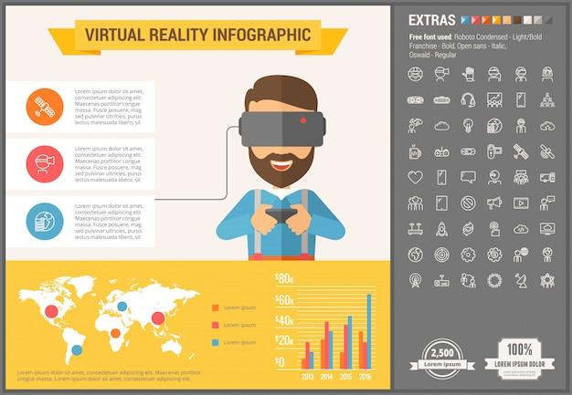 Infographic schablone und ikonen des flachen designs der virtuellen realität eingestellt Premium Vektoren