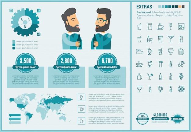 Infographic schablone und ikonen des flachen designs des getränks eingestellt Premium Vektoren