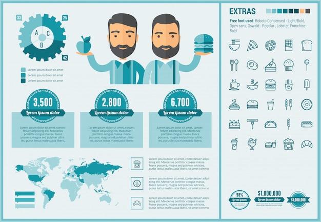 Infographic schablone und ikonen des flachen designs des schnellimbisses eingestellt Premium Vektoren