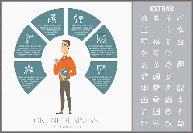 Infographic schablone und ikonen des online-geschäfts eingestellt Premium Vektoren