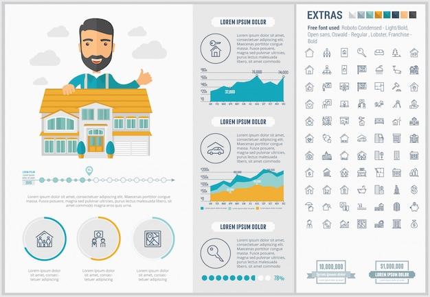 Infographic schablone und ikonen flachen designs der immobilien eingestellt Premium Vektoren