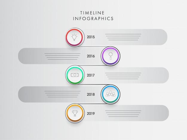 Infographic-schablonendesign des jahreszeitachse mit acht niveaus für Premium Vektoren