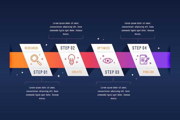 Infographic schrittdesign des flachen designs Kostenlosen Vektoren