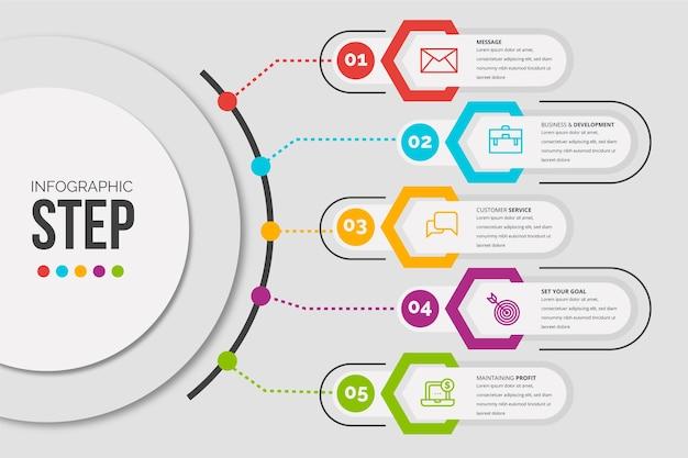 Infographic schritte der flachen designschablone Kostenlosen Vektoren