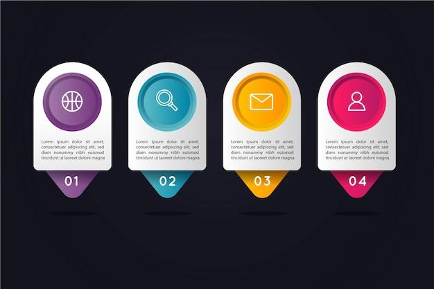 Infographic schritte der steigung mit kreisförmigen bunten textboxen Kostenlosen Vektoren