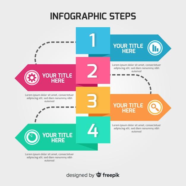 Infographic-schrittkonzept in der flachen art Kostenlosen Vektoren