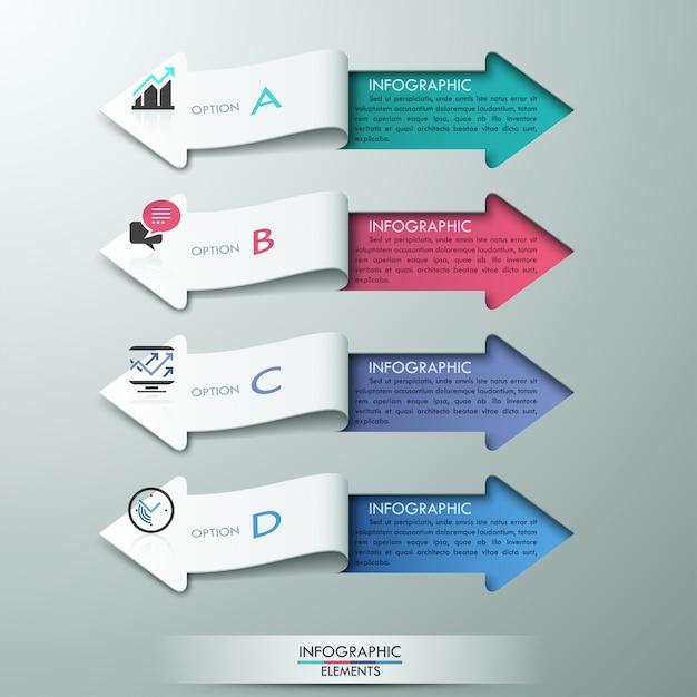 Infographic wahlfahne der modernen papierpfeilart Premium Vektoren
