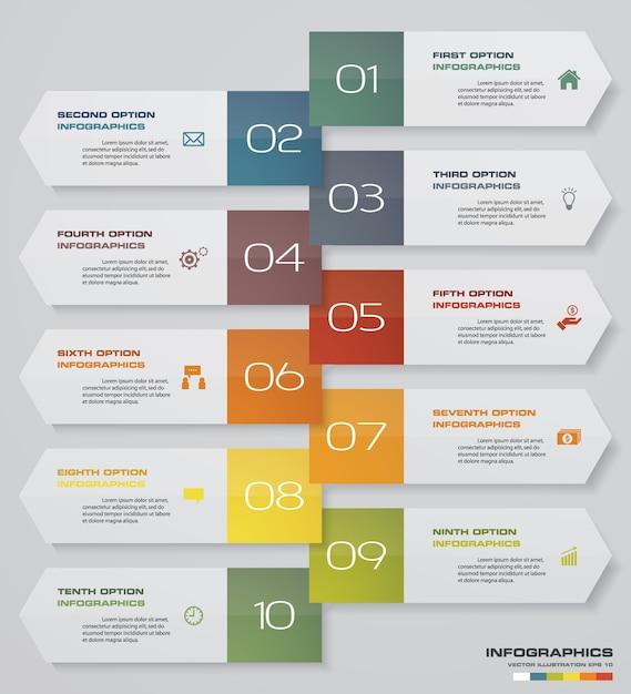 Infographics-design mit 10-schritte-pfeil-timeline. Premium Vektoren