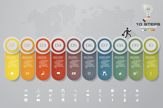 Infographics design mit 10 schritten zeitachse. Premium Vektoren