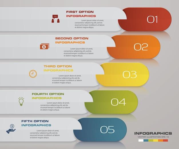 Infographics design mit 5 schritten timeline für ihre präsentation. Premium Vektoren