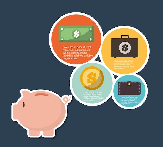 Infographics-gelddesign, vektorillustration Premium Vektoren