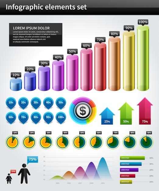Infographics-sammlungsvektordiagramm und diagrammgestaltungselemente und datenvisualisierungsikonen eingestellt. Premium Vektoren
