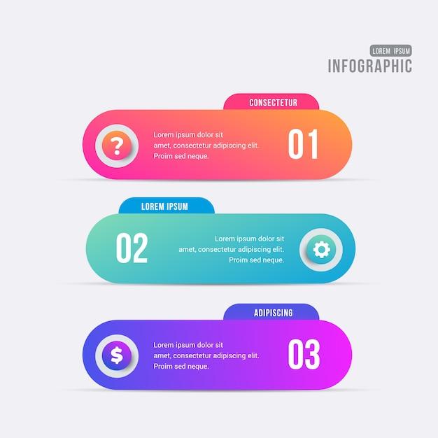 Infographik banner mit bunten schritten Kostenlosen Vektoren