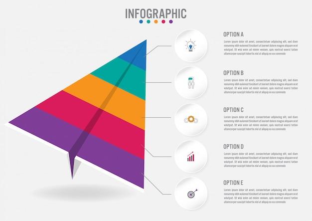 Infographik beschriftung vorlage für unternehmen mit 5 optionen Premium Vektoren