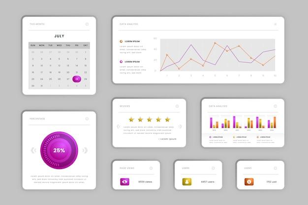Infographik dashboard elementsammlung Kostenlosen Vektoren