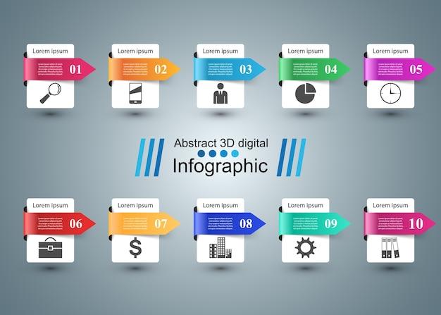 Infographik design. liste von 10 artikeln. Premium Vektoren
