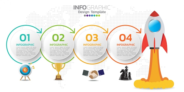 Infographik designvorlage mit symbolen und zahlen. Premium Vektoren