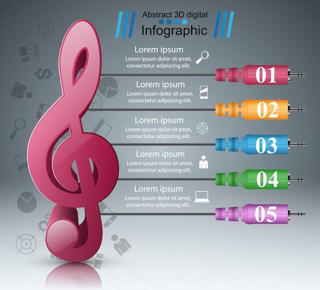 Infographik designvorlage und marketing-symbole. symbol beachten. Premium Vektoren