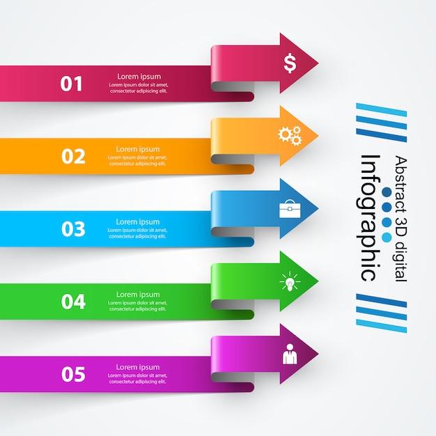 Infographik designvorlage und marketing-symbole. Premium Vektoren