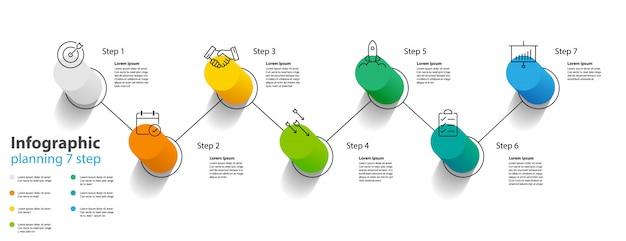 Infographik element design 7 schritt, infochart-planung Premium Vektoren