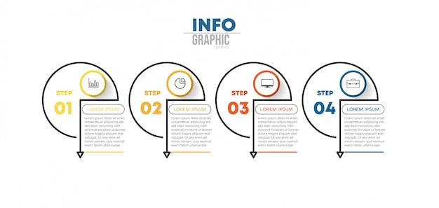 Infographik element mit symbolen und 4 optionen oder schritte. kann für prozess, präsentation, diagramm, workflow-layout und infografik verwendet werden Premium Vektoren
