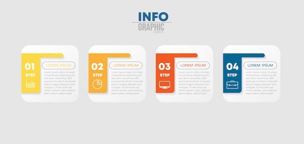 Infographik element mit symbolen und 4 optionen oder schritte. Premium Vektoren