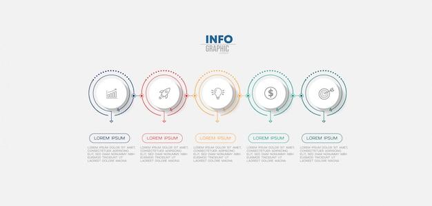 Infographik element mit symbolen und 5 optionen oder schritte. Premium Vektoren