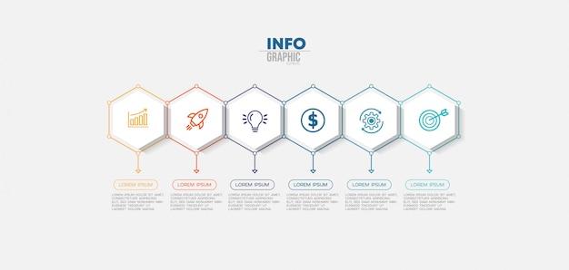 Infographik element mit symbolen und 6 optionen oder schritte. kann für prozess, präsentation, diagramm, workflow-layout, infografik, webdesign verwendet werden. Premium Vektoren
