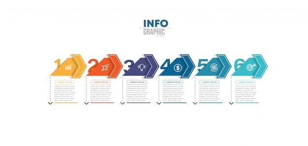 Infographik element mit symbolen und 6 optionen oder schritte Premium Vektoren