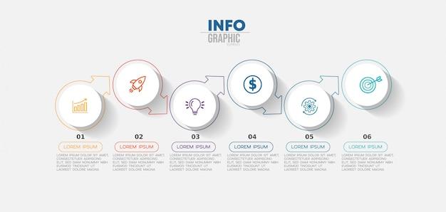 Infographik element mit symbolen und optionen oder schritten. Premium Vektoren