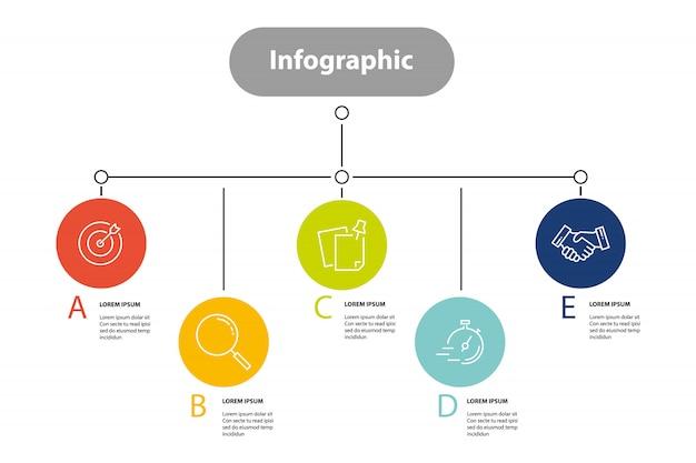 Infographik element schritt infochart planung Premium Vektoren