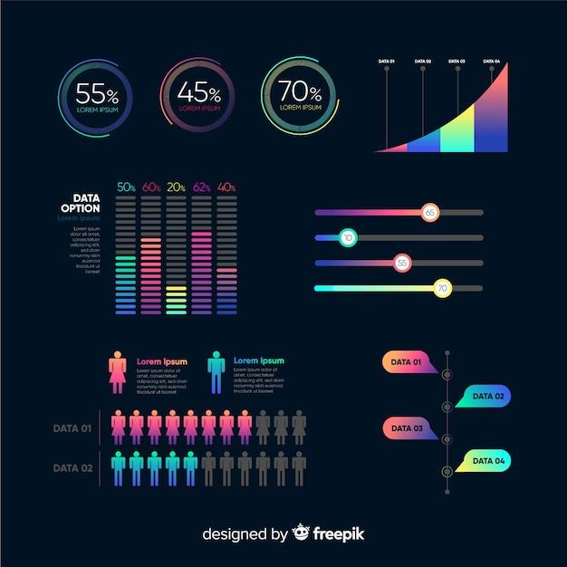 Infographik elemente mit farbverlauf Kostenlosen Vektoren