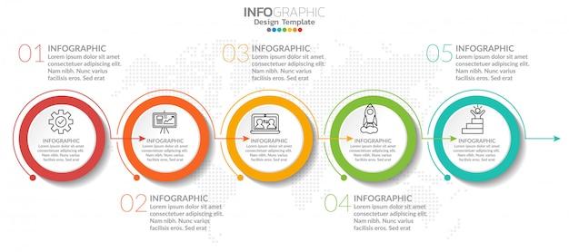 Infographik elemente mit symbol und option. Premium Vektoren