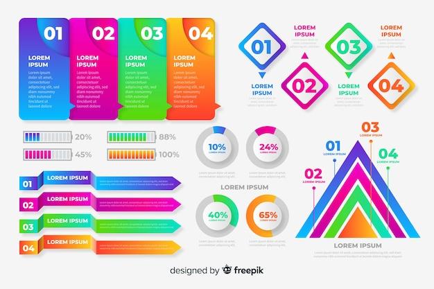 Infographik elementsammlung mit farbverlauf Kostenlosen Vektoren