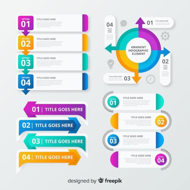 Infographik elementsatz mit farbverlauf Kostenlosen Vektoren