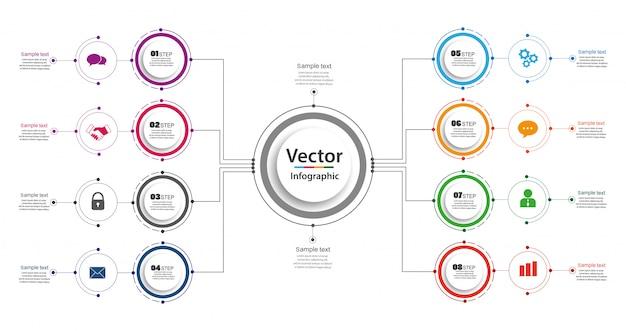 Infographik entwurfsvorlage. geschäftskonzept mit optionen und 8 schritten Premium Vektoren