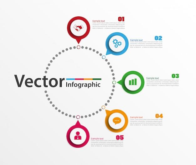 Infographik entwurfsvorlage mit 5 optionen Premium Vektoren