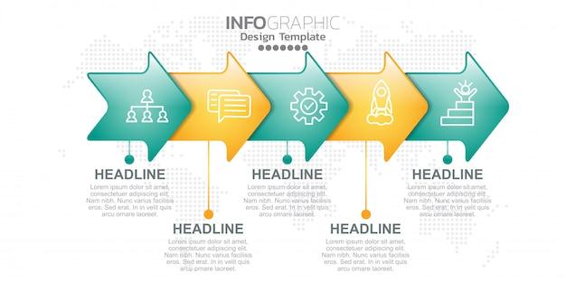 Infographik entwurfsvorlage mit optionen oder schritten. Premium Vektoren