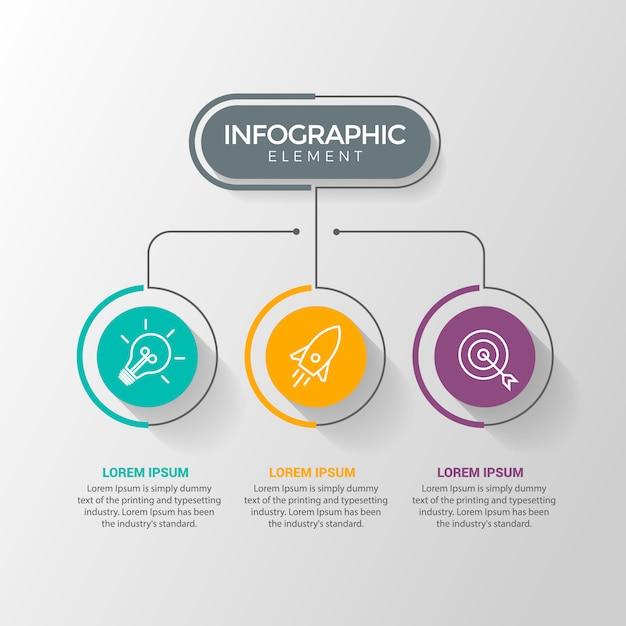 Infographik entwurfsvorlage mit symbolen und 3 optionen oder schritte Premium Vektoren