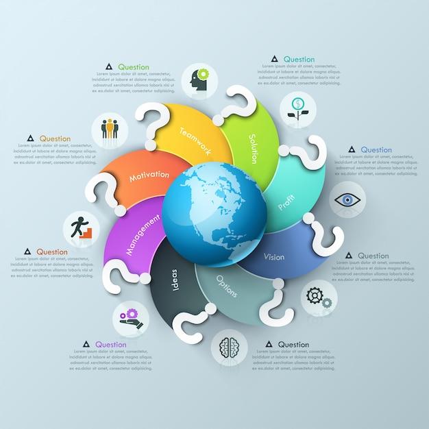 Infographik entwurfsvorlage. spirale mehrfarbige elemente mit fragezeichen rund um globus, piktogramme und textfelder geschwungen Premium Vektoren