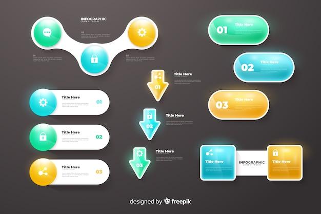 Infographik farbverlauf diagramme sammlungsvorlage Kostenlosen Vektoren